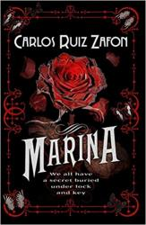 Marina Book Cover: A red Rose Over a black background