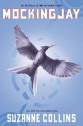 A blue background with a white mockingjay with its wing's spread.