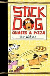 Four cartoon dogs look at another cartoon dog chasing a pizza.